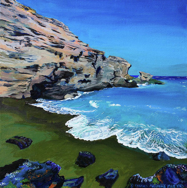 Beach Poster featuring the painting The Green Beach The Big Island Hawaii by Charles and Stacey Matthews