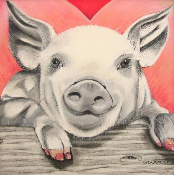 Painting Of A Pig Poster featuring the pastel This Little Piggy... by Michelle Hayden-Marsan