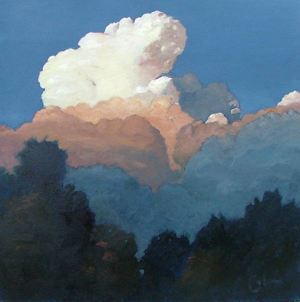 Cloud Poster featuring the painting Thundercap Rising In Santa Fe by Gary Coleman