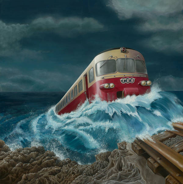 Surreal Poster featuring the painting Trans Europe Express by Patricia Van Lubeck