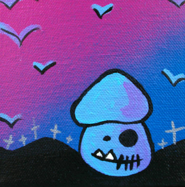 Zombie Poster featuring the mixed media Tricky Zombie Mushroom by Jera Sky
