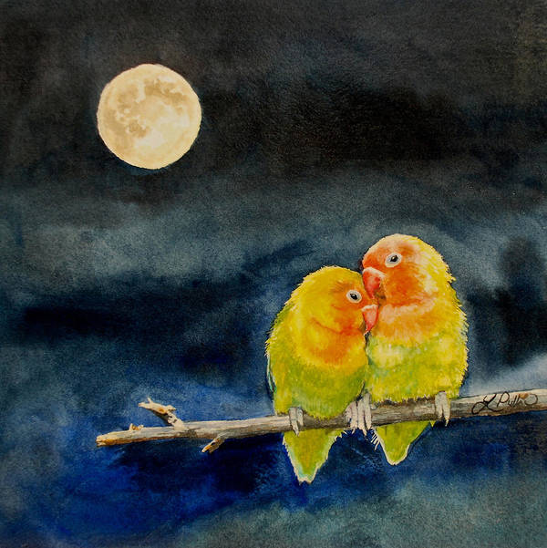 Lovebirds Poster featuring the painting True Love by Linda Pullinsi