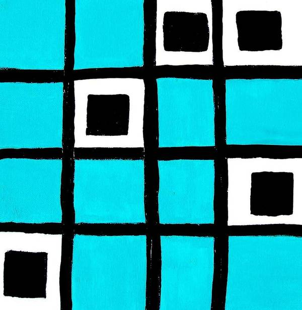Painting Poster featuring the painting Turquoise Squares by Marsha Heiken