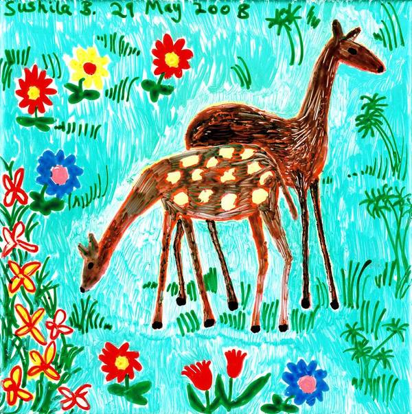Sue Burgess Poster featuring the painting Two Deer by Sushila Burgess