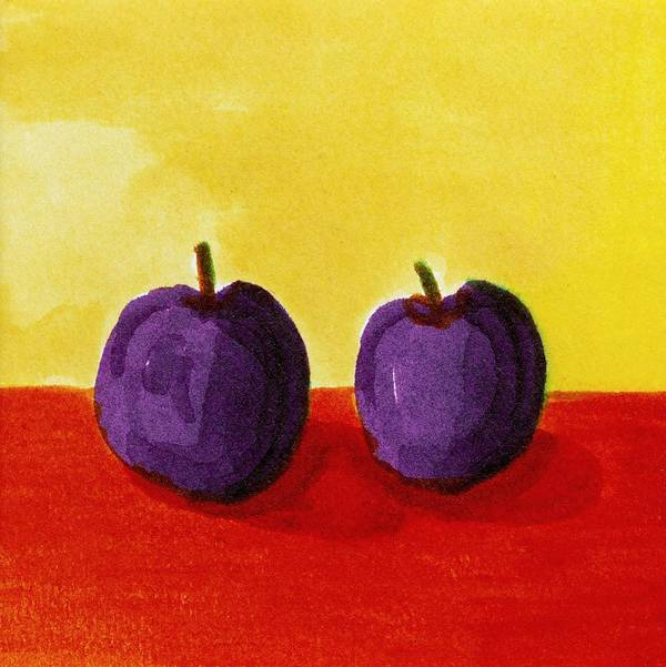 Yellow Poster featuring the painting Two Plums by Michelle Calkins