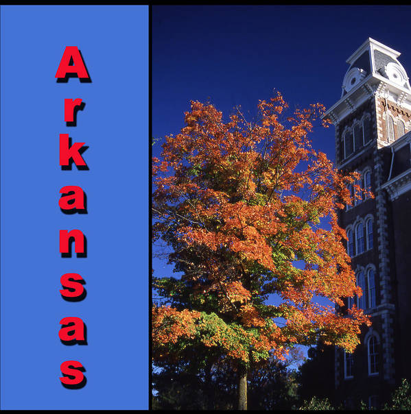 University Of Arkansas Poster featuring the photograph U Of A Old Main by Curtis J Neeley Jr
