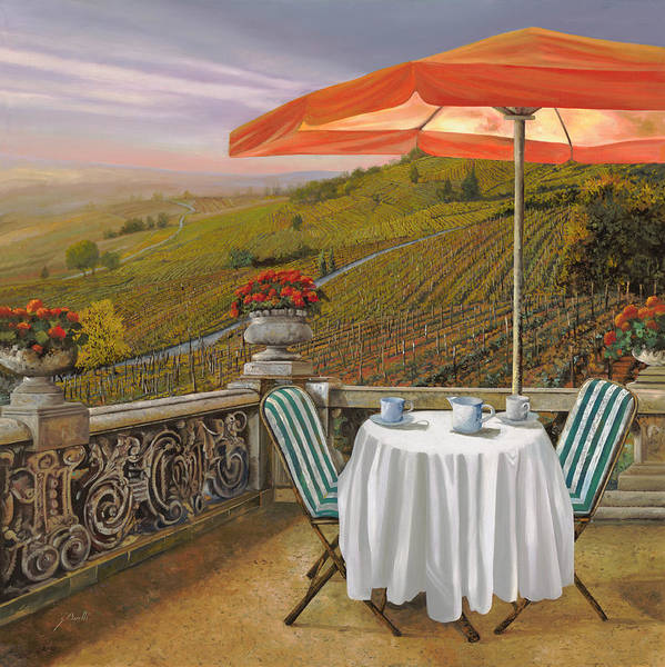 Vineyard Poster featuring the painting Un Caffe by Guido Borelli