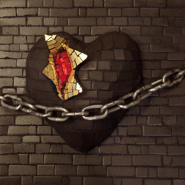 Unchain Poster featuring the relief Unchain My Heart by Julie Mazzoni