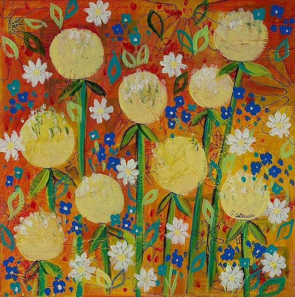Orange Artwork Poster featuring the painting Wild Meadow by Teodora Totorean
