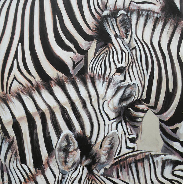 Zebra Poster featuring the painting Zebra Triptyche Left by Leigh Banks