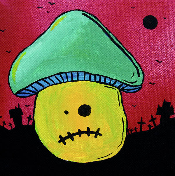 Zombie Poster featuring the painting Zombie Mushroom 1 by Jera Sky
