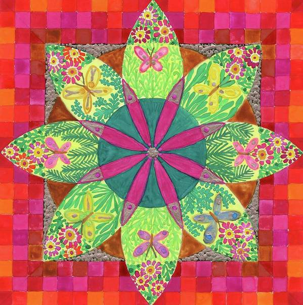 Mandala. Butterfly. Garden Flowers. Poster featuring the painting Butterfly Garden by Sandy Thurlow