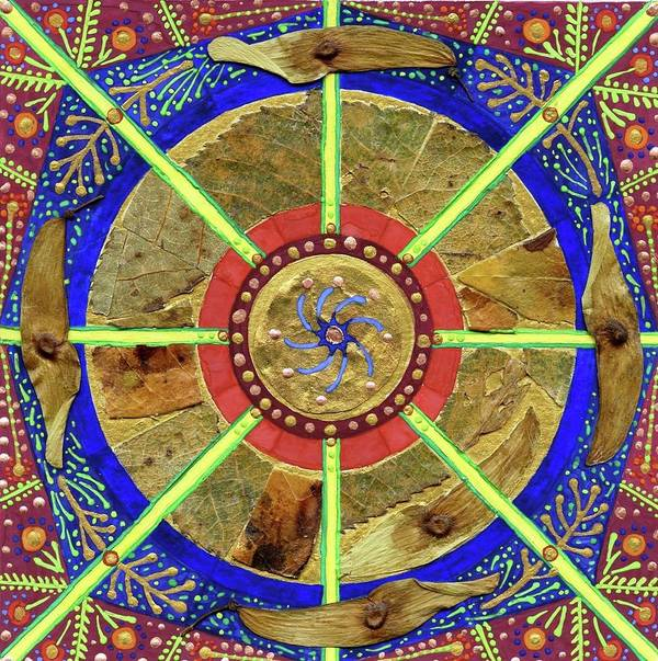 Multimedia Mandala Created With Seeds Poster featuring the painting Making Peace by Sandy Thurlow