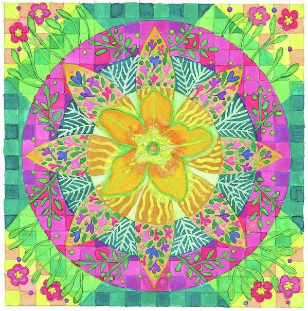 Mandala Poster featuring the painting Tom's Squash Blossom by Sandy Thurlow
