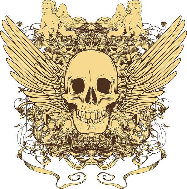 Halloween Poster featuring the digital art Winged Skull by Passion Loft