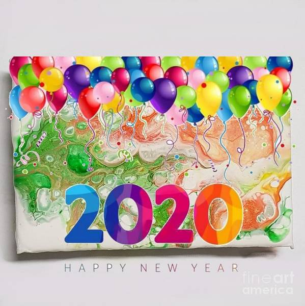 Happynewyear Poster featuring the mixed media Happy 2020 by Paola Baroni