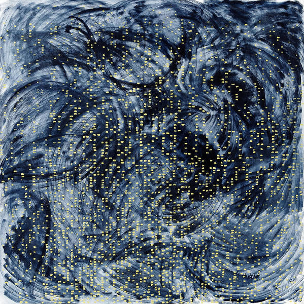 Painting Black Pattern Yellow Square White Grey Swirls Poster featuring the painting Into The Universe by Joan De Bot