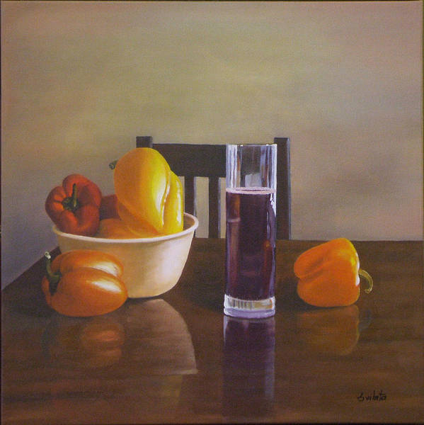 Still Life Poster featuring the painting Peppers On Table by Srilata Ranganathan