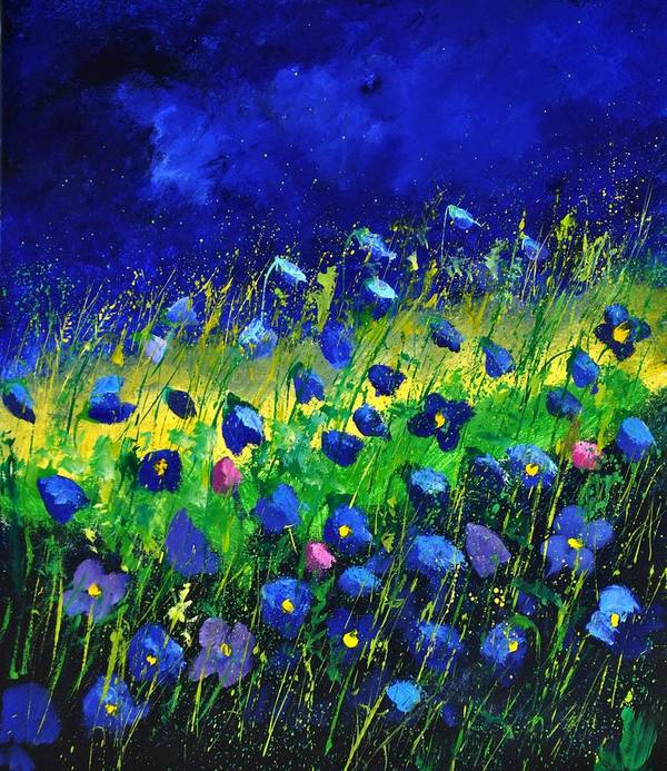 Landscape Poster featuring the painting Blue poppies 674190 by Pol Ledent