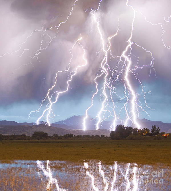 Lightning Poster featuring the photograph Lightning Striking Longs Peak Foothills 4C by James BO Insogna