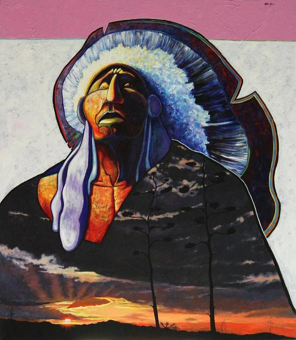 Native American Poster featuring the painting Make Me Worthy by Joe Triano