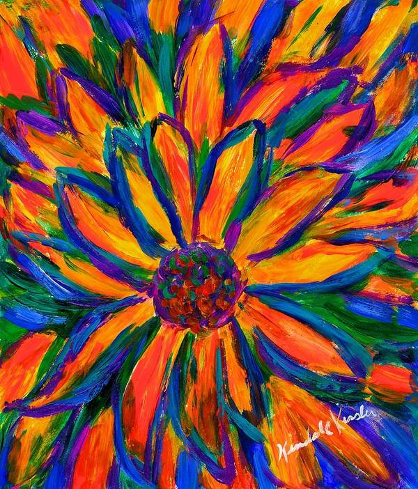 Sunflower Poster featuring the painting Sunflower Burst by Kendall Kessler