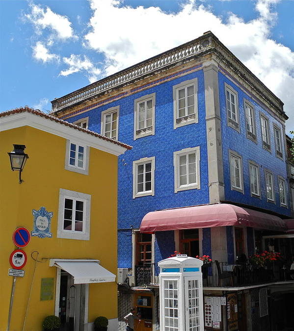 Blue Tile And Yellow Stucco Buildings Poster featuring the photograph Sintra Portugal Buildings by Kirsten Giving