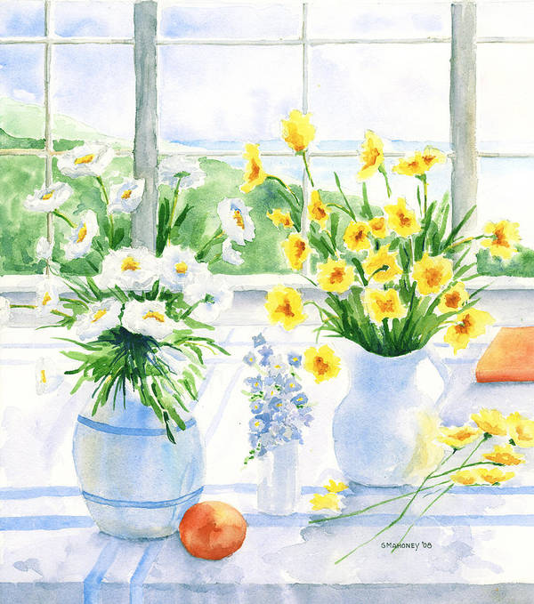 Flowers Poster featuring the painting Summer Light by Susan Mahoney