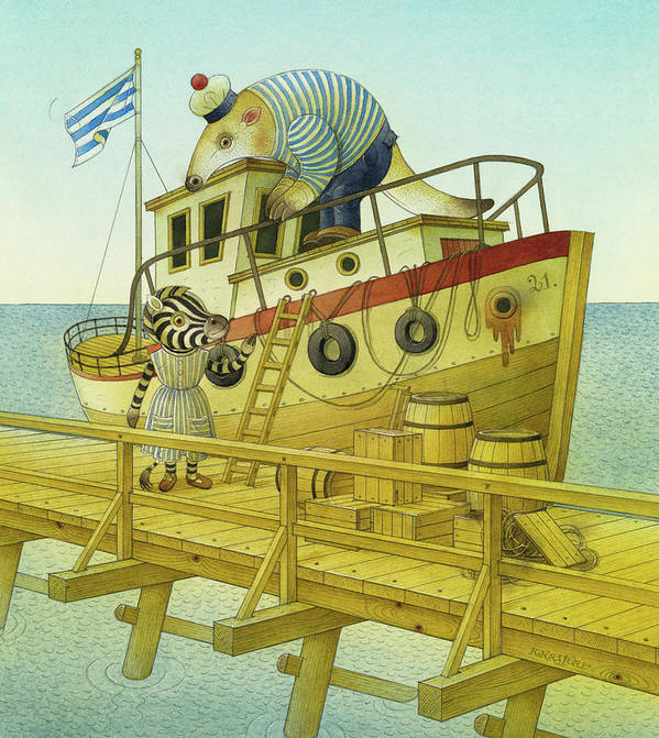 Striped Zebra Animals Sea Sky Flag Ship Boat Bridge Landscape Anteater Sailor Illustration Children Book Poster featuring the painting A Striped Story05 by Kestutis Kasparavicius