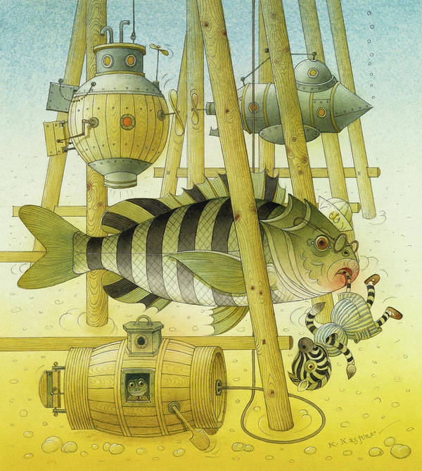 Striped Zebra Animals Fish Submarine Underwater Water Sea Sand Illustration Children Book Poster featuring the painting A Striped Story07 by Kestutis Kasparavicius