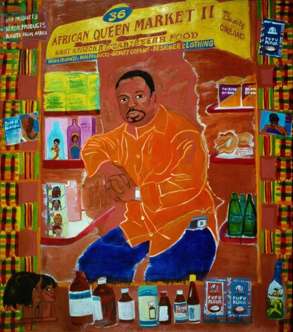 Newkirk Plaza Vendor Poster featuring the painting African Queen Market by Nina Talbot