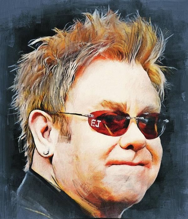 Elton Poster featuring the digital art Elton john classic portrait by Yury Malkov