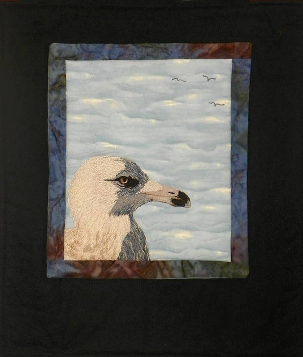 Birds Poster featuring the tapestry - textile Eye Of The Gull by Jenny Williams