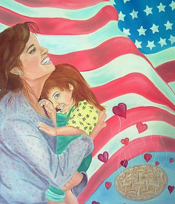 Flag Poster featuring the painting Family Country and Apple Pie by Kathern Welsh