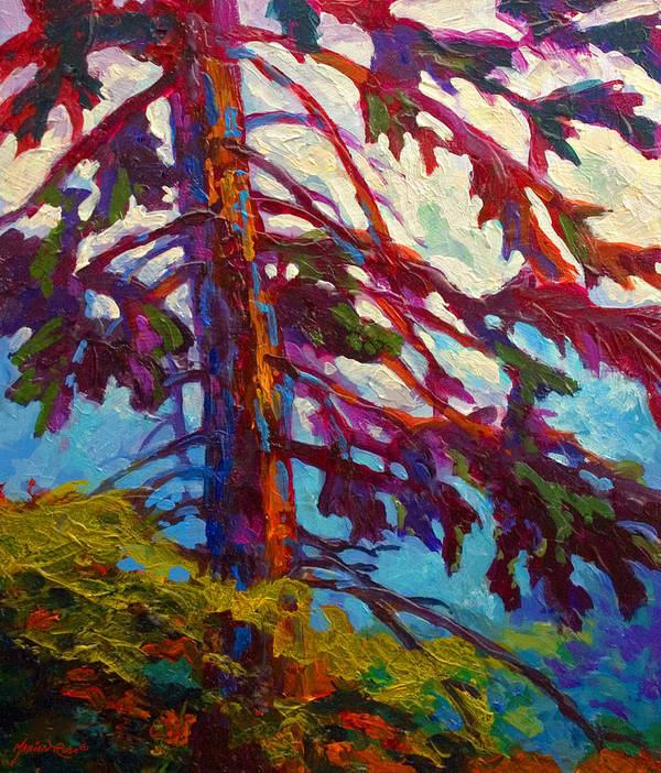 Trees Poster featuring the painting Forest Elder by Marion Rose