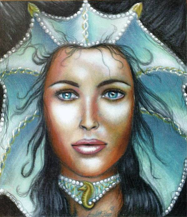 Woman Poster featuring the drawing Lady of the Sea by Scarlett Royal