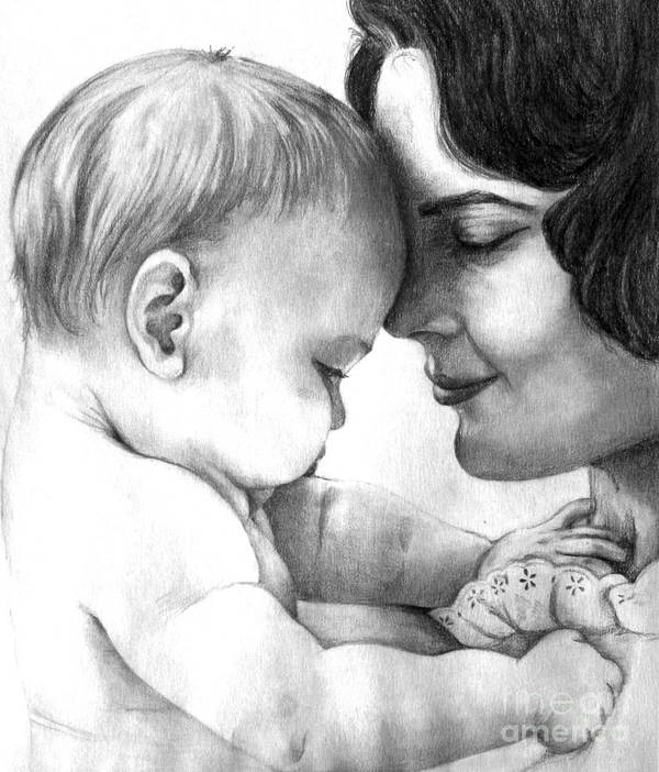 Print Poster featuring the drawing Mother and Baby by L Lauter