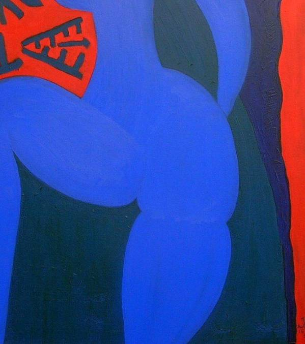 Woman Bull Poster featuring the painting No.284 by Vijayan Kannampilly
