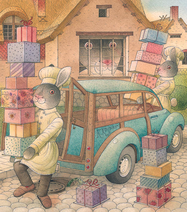 Birthday Rabbit Illustration Delicious Cace Pie Sweets Easter Poster featuring the painting Rabbit Marcus the Great 13 by Kestutis Kasparavicius