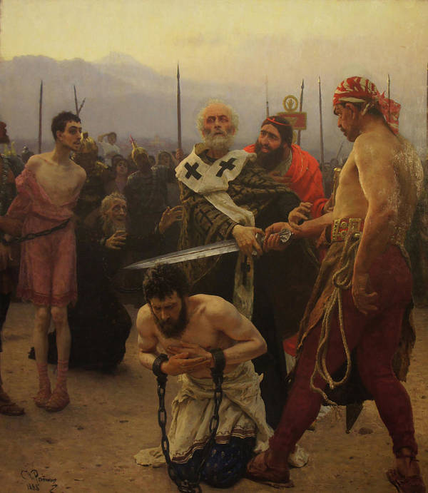 Ilya Repin Poster featuring the painting St. Nicholas Saves Three Innocents from Death by Ilya Repin