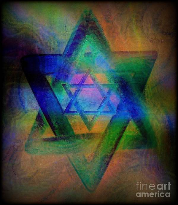 Religious Poster featuring the painting Stars Of David by Wbk