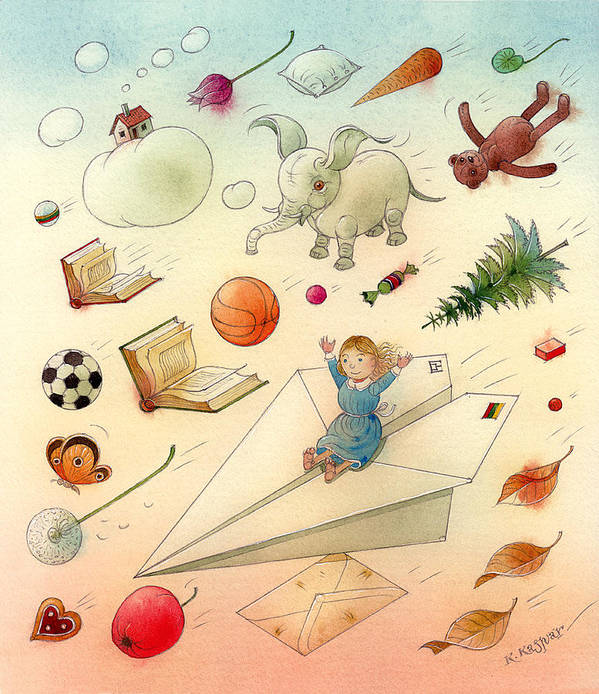 Dream Flying Children Toys Books Sky Poster featuring the painting The Dream by Kestutis Kasparavicius