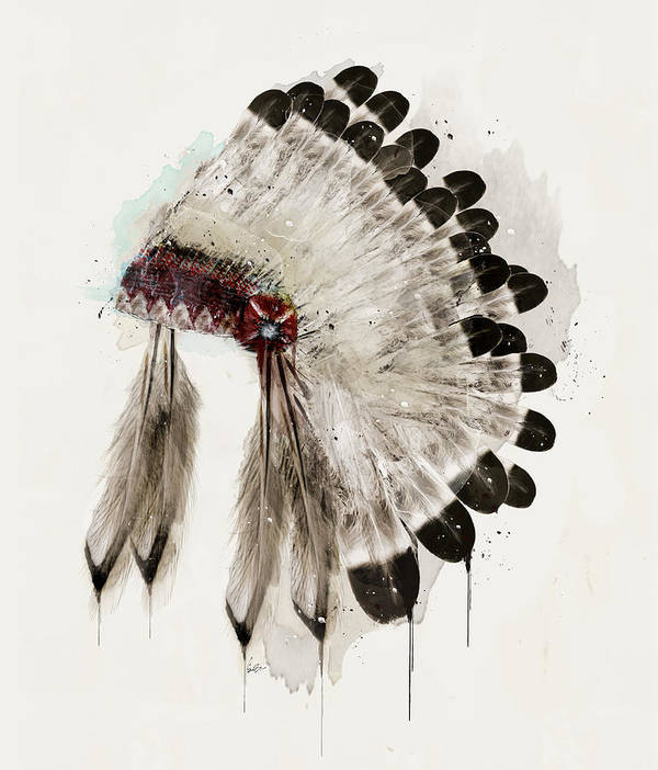 Native Headdress Poster featuring the painting The Winter Headdress by Bri Buckley