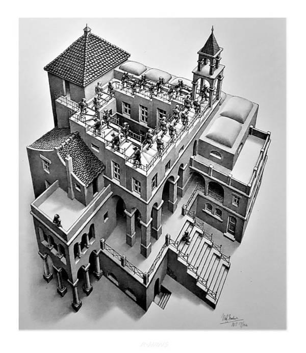 Maurits Cornelis Escher Poster featuring the photograph Escher 129 by Rob Hans