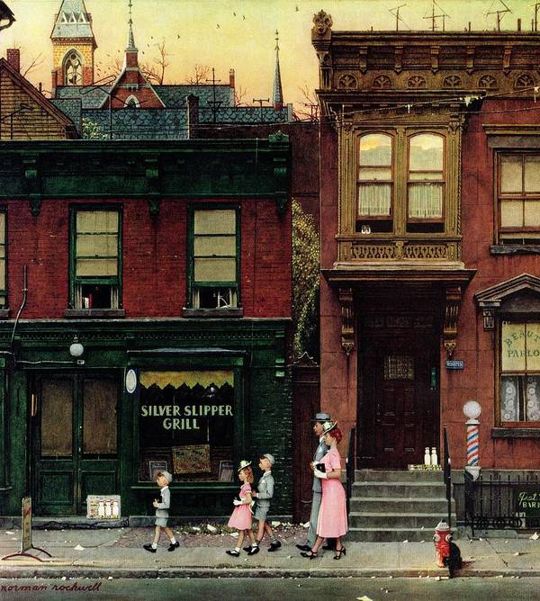 Churches Poster featuring the drawing Walking To Church by Norman Rockwell