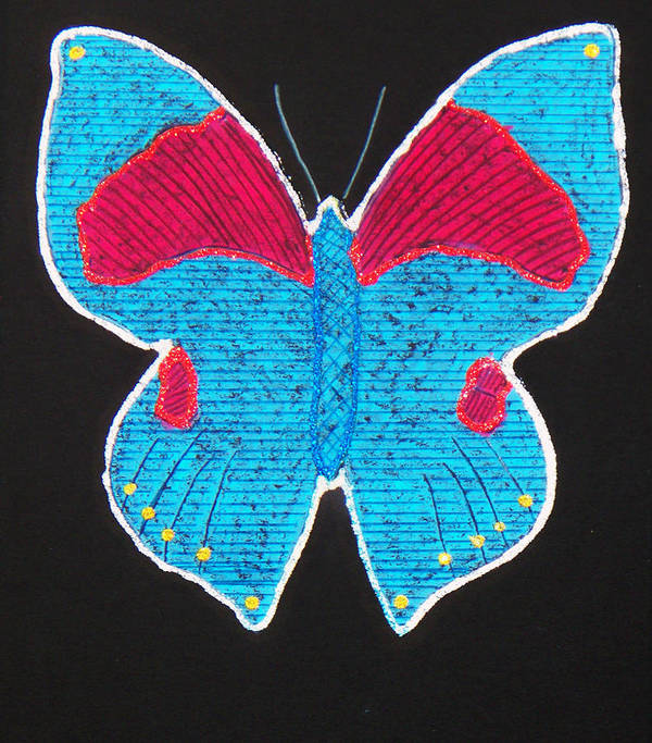 Drawing Poster featuring the mixed media Butterfly by Sergey Bezhinets