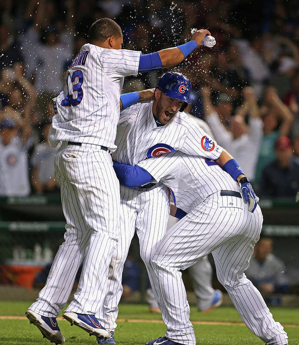People Poster featuring the photograph Chris Denorfia, Anthony Rizzo, and Starlin Castro by Jonathan Daniel