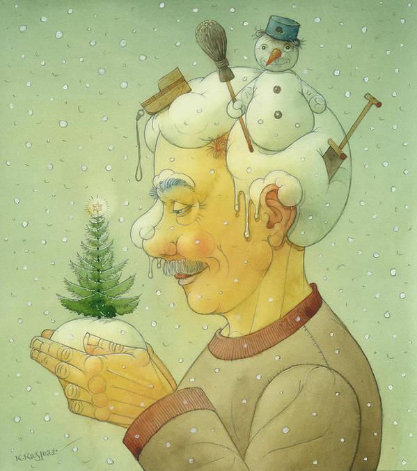 Winter Snow Figure Christmas Tree Holiday Poster featuring the painting Snovy Winter by Kestutis Kasparavicius