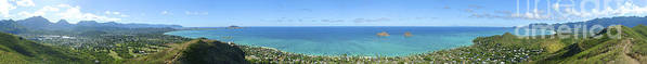 Blue Poster featuring the photograph Windward Oahu Panoramic by David Cornwell/First Light Pictures, Inc - Printscapes