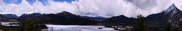Landscape Poster featuring the photograph Snow Lake And Mountains by Maria Arango Diener